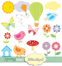 colorful spring clipart flowers butterflies air balloon