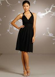 halter ruched knee length empire v neck black beach bridesmaid