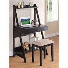 amazon com poundex writing desk and stool with black color finish