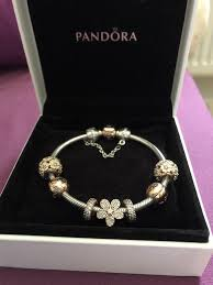 pandora silver bracelet with charms images Genuine pandora silver bracelet with rose gold charms in JPG