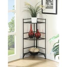 Metal Furniture Finishes Convenience Concepts 3 Tier Corner Folding Metal Corner Shelf