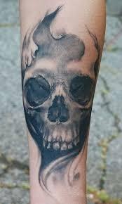Forearm Skull - gloomy grey skull forearm tattoos book