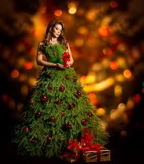 christmas tree woman fashion dress model xmas lights stock