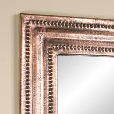 rectangular lightly hammered copper mirror antique copper bathroom