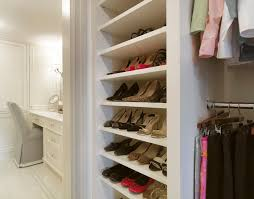Built In Vanity Dressing Table Built In Shelves For Shoes Transitional Closet Slc Interiors