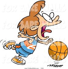 printable illustration of a cartoon basketball dribbling and