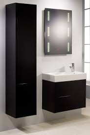 bathroom black rectangle vanity with white sink plus light mirror