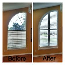 arched window before with blinds and after with plantation