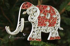 paper quilling elephant ornament white and gold elephant