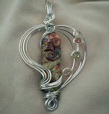 necklace wire images Tan green blue sterling silver wire wrapped pendant necklace jpg