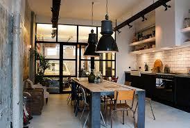 Oversized Pendant Lighting Chic Industrial Kitchen White Tile Backsplash Rustic Wooden Island