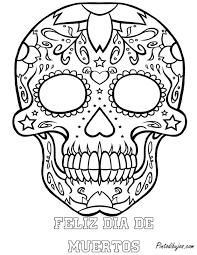dia de los muertos skull coloring pages printable kids coloring