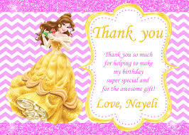 princess belle thank you card birthday party from lookfunny on