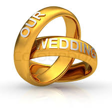 wedding gold rings two golden wedding rings with text our wedding stock photo