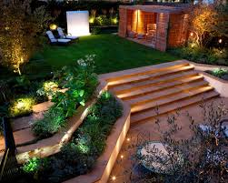 simple backyard designs composite pot planter stone gas fire pit