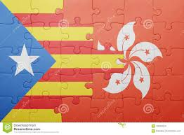 Flag Of Catalonia Puzzle With The National Flag Of Catalonia And Hong Kong Stock