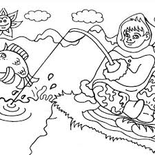 an eskimo from alaska going fishing coloring page color luna
