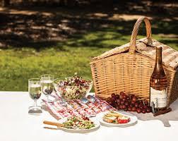 Wine Picnic Basket Picnic Basket Etsy