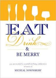 eat drink be merry birthday 60th birthday invitations