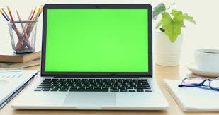 Laptop On Desk Laptop On Desk With Green Screen Stock Footage 31591240