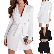 suit dress blazer slim belted v neck suit dress quality sleeve suit
