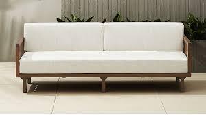 tropez outdoor wood sofa cb2
