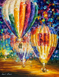 balloon and emotions palette knife oil painting on canvas by