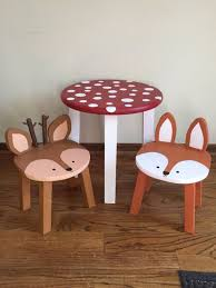 kids animal table and chairs toadstool table chairs kids furniture woodland animal stools