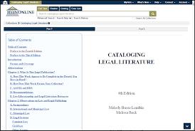 cataloging legal literature 4th edition heinonline