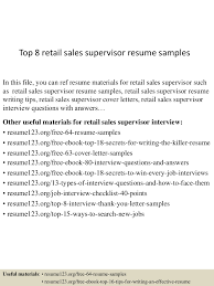 Retail Supervisor Cover Letter Top8retailsalessupervisorresumesamples 150523005617 Lva1 App6891 Thumbnail 4 Jpg Cb U003d1432342622
