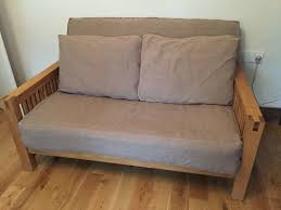oak futon sofa bed 2 seater solid oak futon 3 panel mattress and two futon pillows