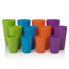 12pc newport unbreakable plastic cup tumblers in 4 assorted colors