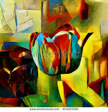 cubism flower painting tulips on flowerbed bouquet beautiful flowers stock illustration