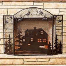 rustic fireplace screens with bear moose u0026 wildlife designs