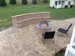 Colored Concrete Patio Pictures Stamped Concrete Patios With Seating Wall And Fire Pit
