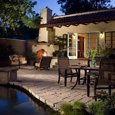 backyard covered patio ideas with pavestone flooring and pool and