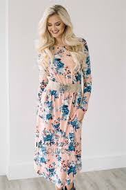 online women s boutique pink blue floral pocket modest dress best online modest