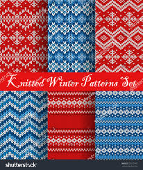 winter knitted patterns set vector christmas stock vector