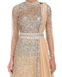 beige colour beige color indo western gown in tulle net fabric panache haute