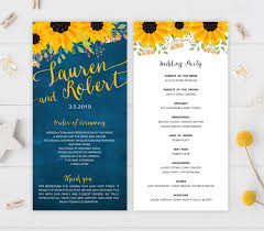 sunflower wedding programs rustic wedding programs sunflower wedding