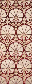 ottoman with patterned fabric tulip and net furnishing fabric j h dearle curtains drapes