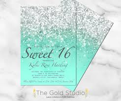 customizable mint green glitter ombre sweet sixteen 16 printable