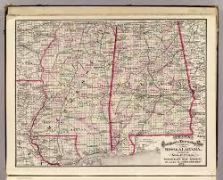 State Map Of Mississippi by U0026 Alabama Cram Atlas Company 1875