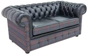 Plum Leather Sofa Chesterfield 2 Seater Lewis Check Plum Antique Blue Leather Sofa