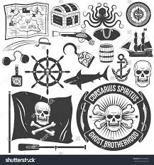 set create logo pirate tattoos marine stock vector 295218629