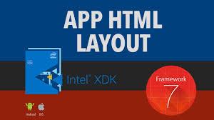 membuat aplikasi android dengan intel xdk app html layout intel xdk framework 7 youtube