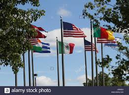 Flags And Flagpoles The Flags Us Nepal Cameroon Israel India Mexico And Cuba On A