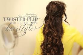 twisted flip half up updos half down hairstyles hair tutorial video