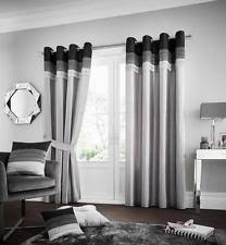 White And Grey Curtains Grey Eyelet Top Curtains U0026 Pelmets Ebay