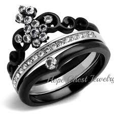 stainless steel wedding ring sets women s black stainless steel crown tiara design cz wedding ring